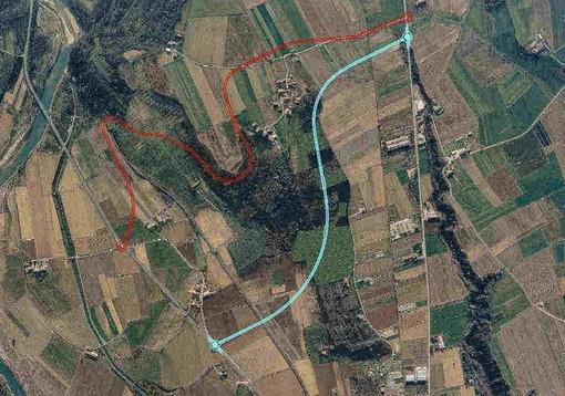 Nella foto i due tracciati a confronto: in rosso quello del 2002, in azzurro quello del 2009