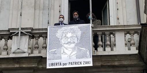 Il ritratto di Patrick Zaki esposto a febbraio 2021 in Comune a Torino