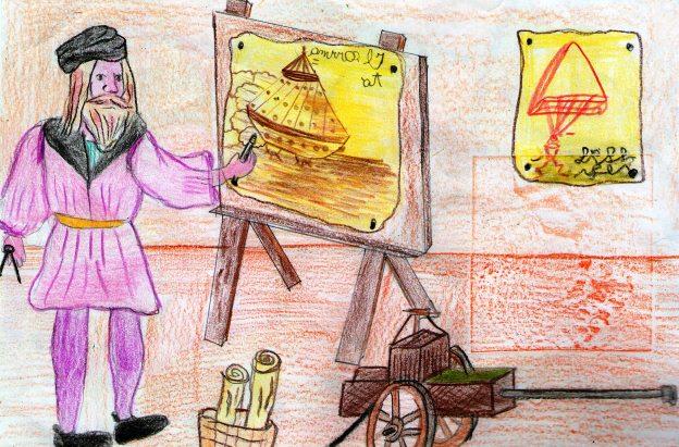 Bra un cartone al museo con leonardo da vinci e piumati