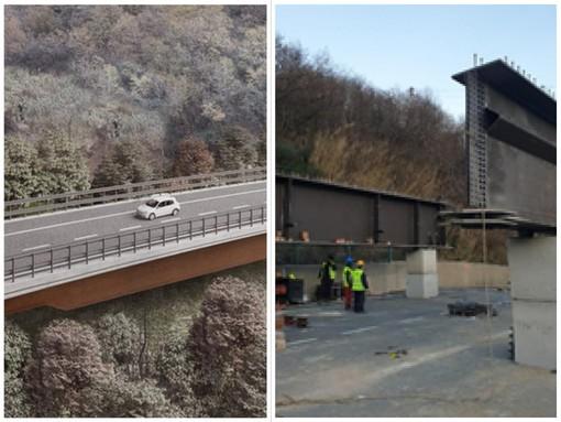 A6, completate le spalle del nuovo viadotto Madonna del Monte su cui poggerà l'impalcato in acciaio