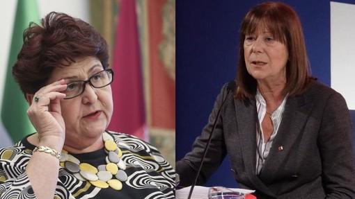 La ministra delle Politiche Agricole, Teresa Bellanova, e l'assessora al Commercio della Regione Piemonte, Vittoria Poggio (immagini scaricate dai rispettivi profili Facebook)