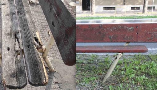 Panchina rotta in corso IV Novembre e panchina piegata in corso Monviso