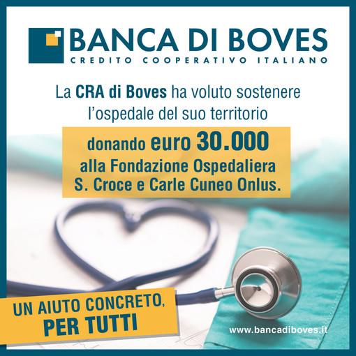 La Banca di Boves dona euro 30.000 a sostegno della Fondazione Azienda Ospedaliera Santa Croce e Carle Cuneo Onlus