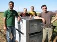 Insieme a due dipendenti con i cassoni per la raccolta dei prodotti