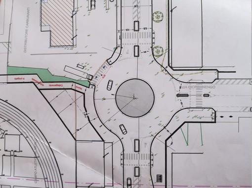 Il progetto della rotonda con gli attraversamenti pedonali in sicurezza all'incrocio tra corso Francia e via Giordanengo