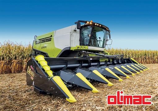La testata mais OLIMAC DragoGT, l'unica sul mercato dotata di piatti spannocchiatori ammortizzati e a regolazione automatica per un raccolto totale senza perdite di pannocchie e chicchi