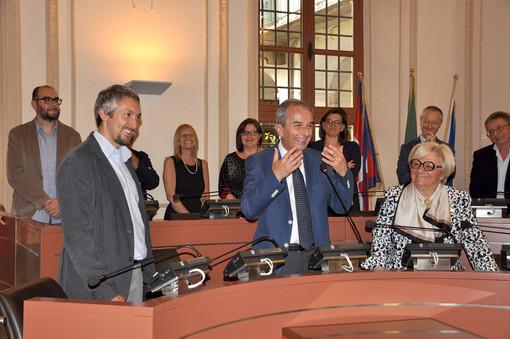 Un'immagine dello scorso 10 giugno: l'insediamento in Consiglio di Gianni Fogliato, fresco vincitore della consultazione elettorale del 26 maggio