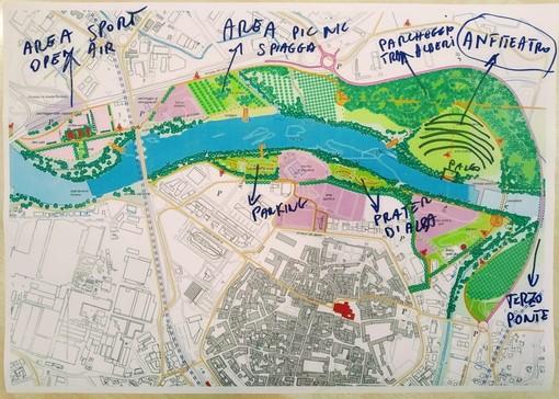 """Nei rendering il progetto di """"Parco Urbano del Tanaro"""" che la Lega cittadina ha inserito nel suo programma elettorale"""