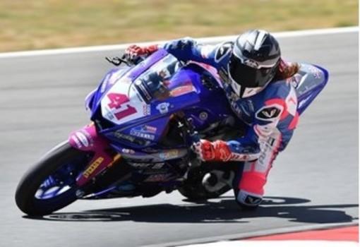 Arianna impegnata a Rijeka con la Yamaha 300