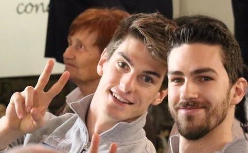 Emanuele Bosio in una immagine di repertorio con il compagno di squadra Borgogno (foto Merlino)