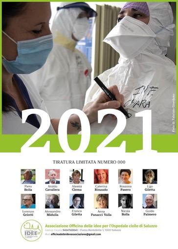 La copertina del calendario realizzato dall'Officina delle idee per l'ospedale di Saluzzo. Scatto di Fabrizio Giordano. I mesi sono rappresentati dalle opere di 12 artisti saluzzesi