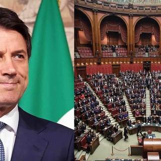 Il presidente del Consiglio Conte e un'immagine della Camera dei deputati