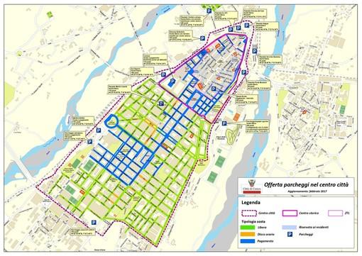 La planimetria dei parcheggi nel centro città