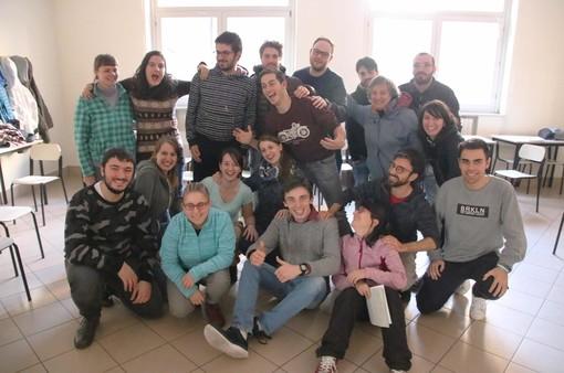 Alcuni degli allievi del primo anno del secondo corso con il docente Simone Morero
