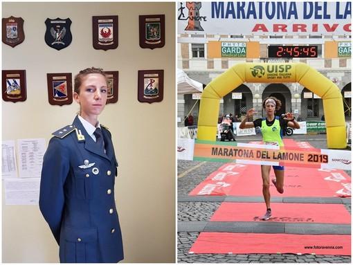 Giulia Montagnin in divisa di Capitano della Guardia di  Finanza e prima al traguardo della Maratona del Lamone