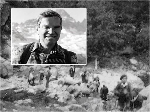 Gigi Ferraro e una foto storica dell'esodo degli ebrei attraverso dalla Francia slle valli cuneesi