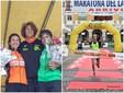 Giulia Montagnin sul podio della Maratona del Lamone con Gloria Giudici e Denise Tappatà