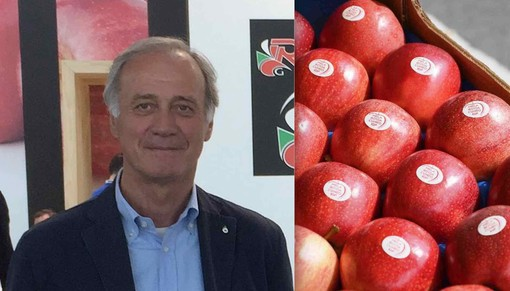 Il presidente Sacchetto e una confezione di Mele Rosse Cuneo Igp