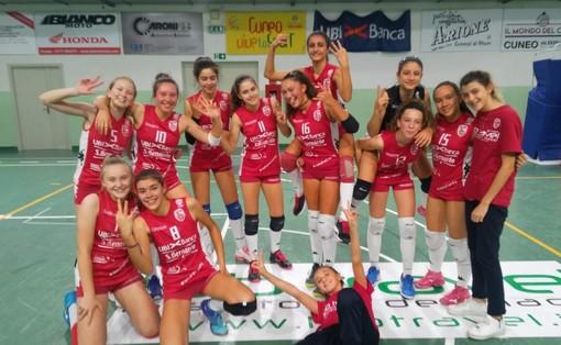 L'esultanza delle giocatrici dell'Under 14 dopo il successo sulla Libellula Volley Eagles