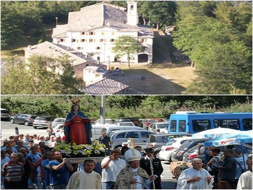 Il santuario di Valmala,la processione con la statua della Madonna della Misericordia