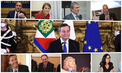 "Mario Draghi (al centro), ""circondato"" dai parlamentari cuneesi"