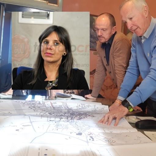Saluzzo, conferenza stampa per l bando a sostegno dei negozi di vicinato in aree della città e Castellar Francesca Neberti, Eros Demarchi, Franco Demaria