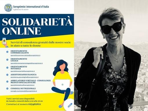 Locandina del Club Soroptimist Italia per la promozione dello sportello multidisciplinare online di aiuto alle donne. Di lato la presidente Soroptimist Cuneo Ingrid Brizio