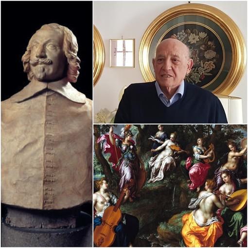 Il busto del Cardinal Maurizio di Savoia, il musicologo Alberto Basso, la copertina del libro omaggio ad Alberto Basso