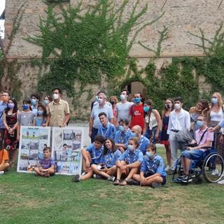 Foto d gruppo con Fabio Fazio al Castello della Manta