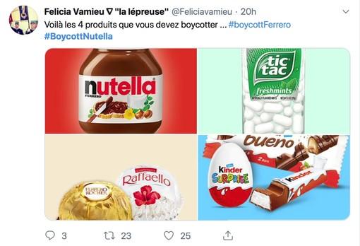 """""""Ecco i prodotti che dovete boicottare"""", si legge su uno dei tanti tweet collegati all'hashtag #BoycottNutella"""