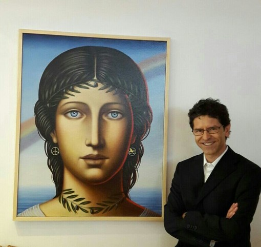 Franco Giletta davanti alla sua tela Italia