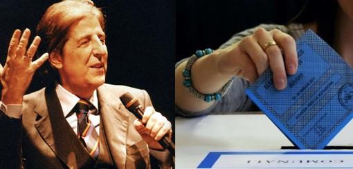 Giorgio Gaber e la scheda di una precedente tornata elettorale (foto di repertorio)