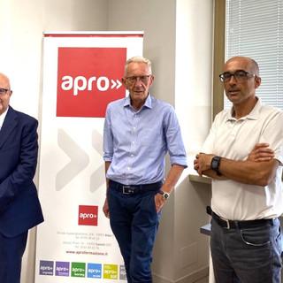Da sinistra il presidente Apro Paolo Zoccola, il professor Beppe Ghisolfi e il direttore dell'istituto Antonio Bosio