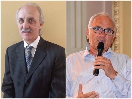 A sinistra, in foto, Gian Pietro Gasco, sindaco di Vicoforte dal 2004 al 2014; a destra, Valter Roattino, attuale primo cittadino vicese