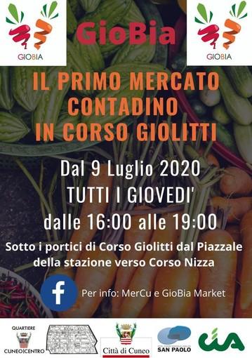 Cuneo, mercato contadino Gio.B.i.A. in corso Giolitti