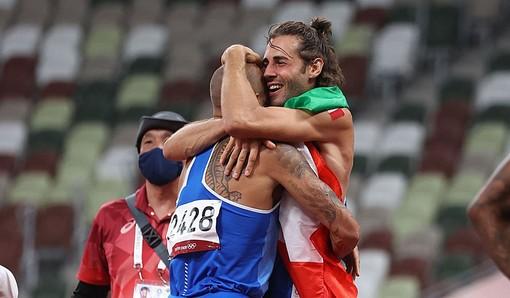 L'abbraccio tra Gianmarco Tamberi e Marcell Jacobs - Foto tratta dal sito FIDAL