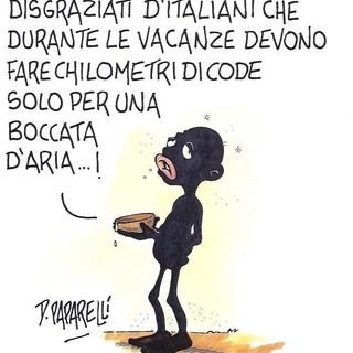Il grande esodo estivo secondo il vignettista Danilo Paparelli