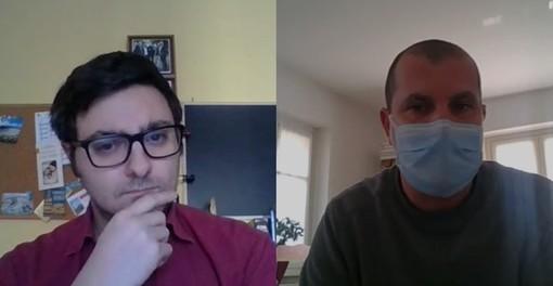 """Un fotogramma della videointervista al dottor Marco Ribezzo, responsabile della Cardiologia riabilitativa della clinica """"Maria Pia"""" di Torino, attrezzato a Covid Hospital"""