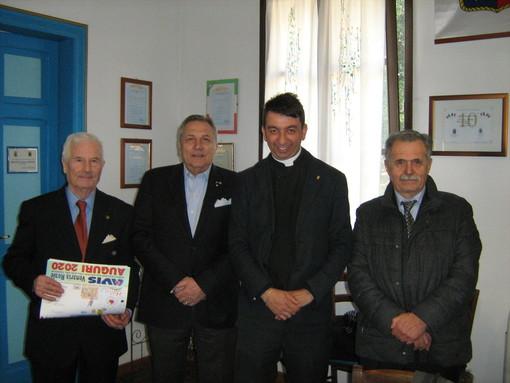 In foto da sinistra il Cavaliere Milanesio, il Commendatore Malvino, il Cavaliere don Augusto Piccoli e il Cavaliere di Gran Croce Varni