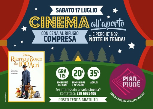 Pian Munè di Paesana: cena e cinema all'aperto sabato 17 luglio