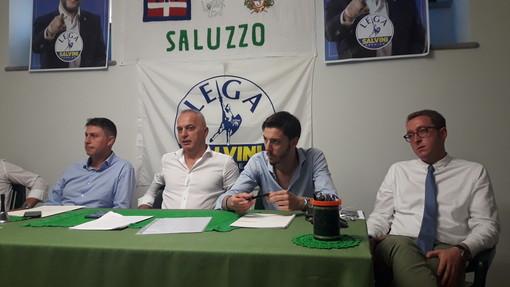 Esponenti leghisti in conferenza stampa a Saluzzo