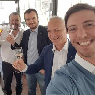 Matteo Salvini, Riccardo Molinari (segretario regionale e capogruppo Camera Lega), Bergesio e Gastaldi. Passato il tempo dei brindisi, ora quello dell'autocritica e della riflessione