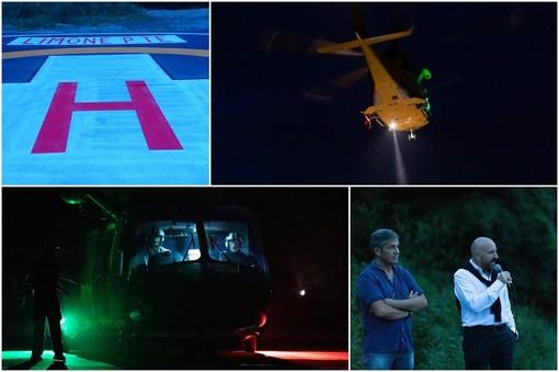 Il volo test dell'elisoccorso, ieri sera a Limone Piemonte