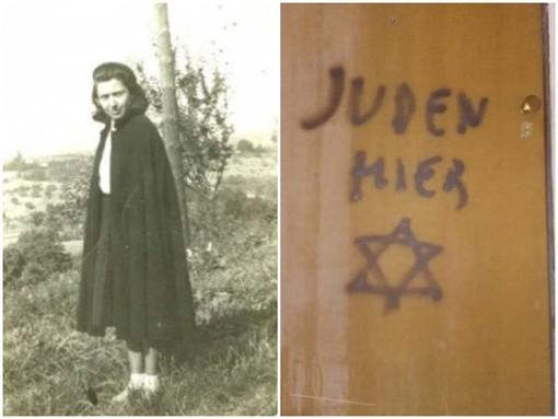 Lidia Rolfi, a sinistra; la porta di casa del figlio Aldo, a destra
