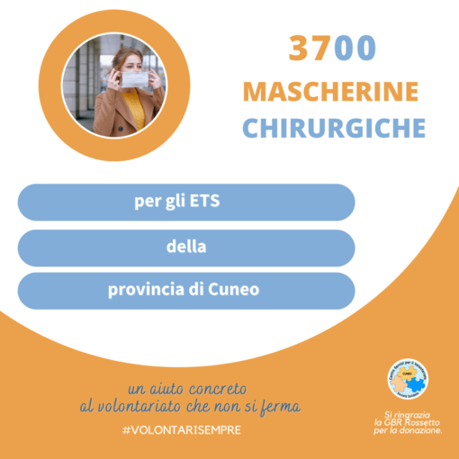 3700 mascherine donate ai Volontari di Cuneo dall'azienda veneta GRB Rossetto