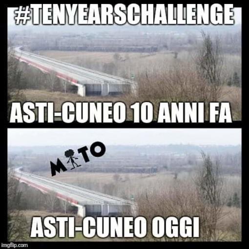 L'ironia sui social non risparmia l'Asti-Cuneo, vittima della #tenyearschallange