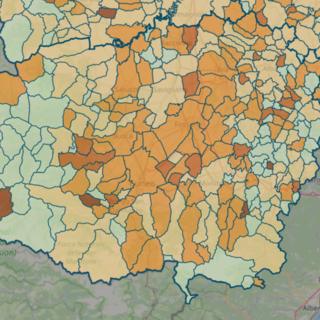 LA MAPPA DEL 18 APRILE - IN MARRONE SCURO I CENTRI CON INDICE SUPERIORE A 18 CONTAGI OGNI 1.000 ABITANTI