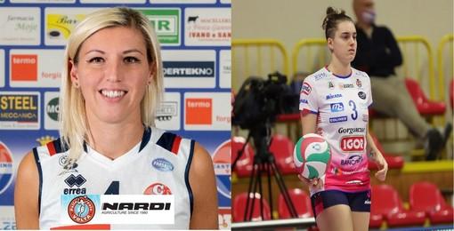 A sinistra la centrale Mila Montani e a destra la schiacciatrice Alessia Populini