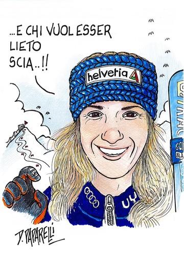 La vignetta di Danilo Paparelli per la festa di Marta Bassino e dei suoi tifosi