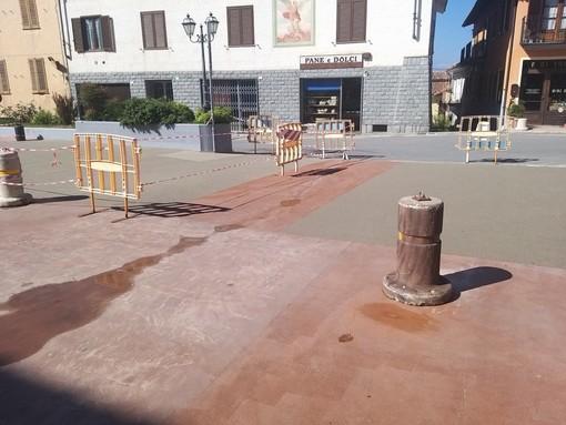 I lavori effettuati sulla piazza di Novello